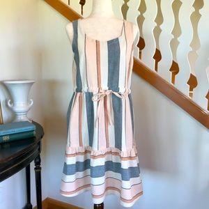 Sleeveless Woven Cotton Striped Sun Dress